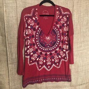 Lucky Brand S Boho Red Long Sleeve Top V Neck